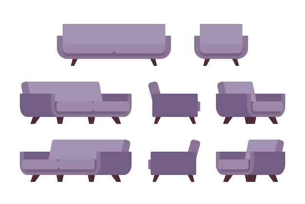 Set of retro lilac sofa and armchair