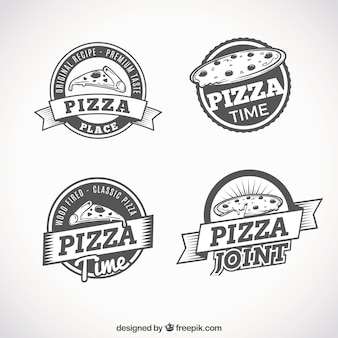 Set of retro logos of pizzas