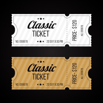 Set of retro paper and cardboard tickets template