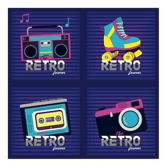 Set of retro pop cards
