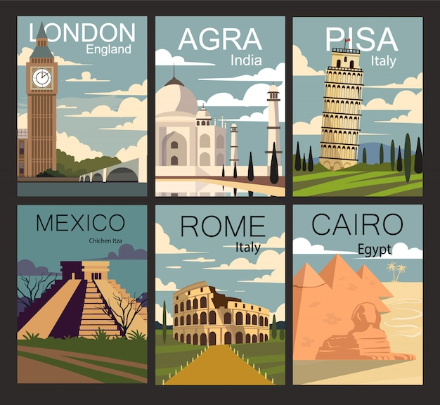 Set of retro posters of cities