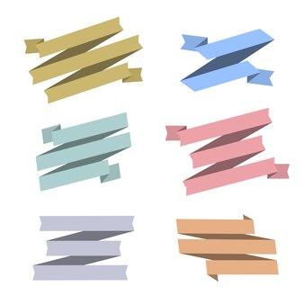 Set of retro ribbons isolated