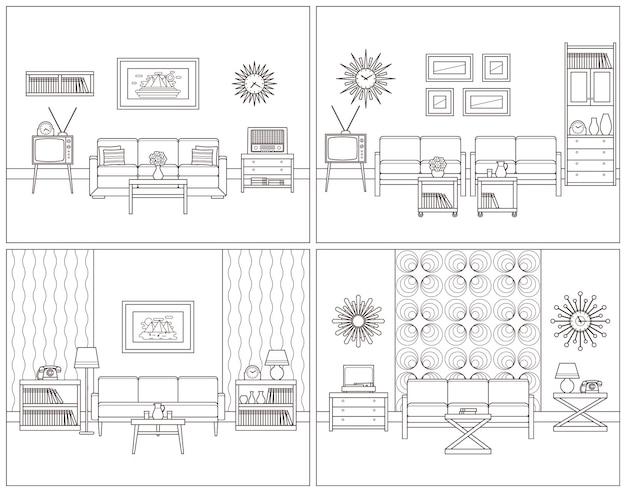 Set retro rooms interior in flat design. linear vector illustration.