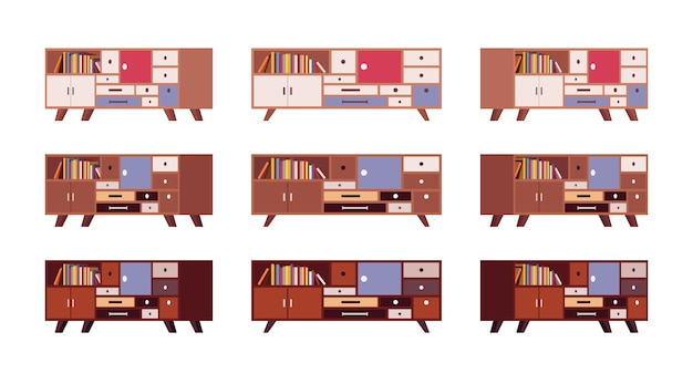Set of retro sideboards with drawers and bookshelves
