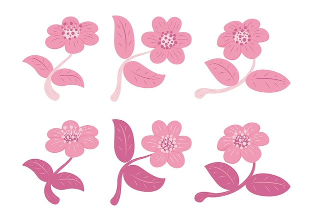 Set of retro style flower and leaf isolated on white background. floral elements icon.