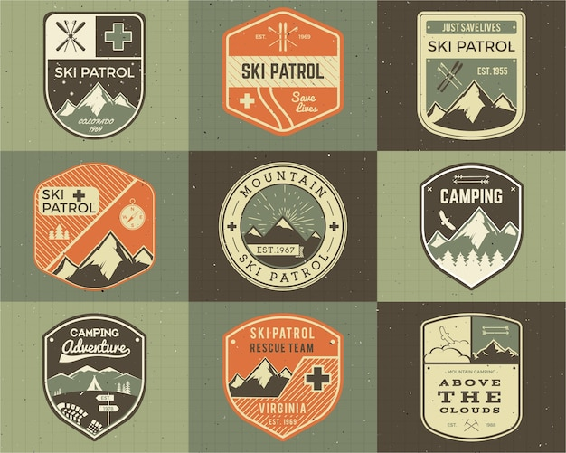 Set of retro style ski club, patrol labels. classic mountain elements.
