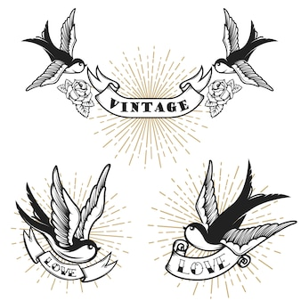 Set of retro style tattoo with swallow bird.  elements for logo, label, emblem, sign, badge.  illustration