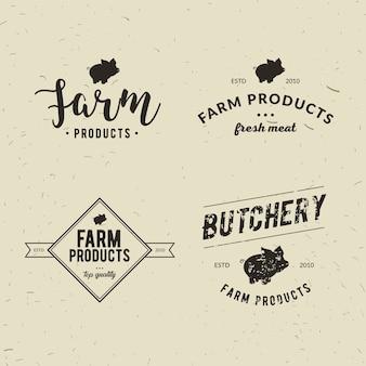 Set of retro styled butchery logo templates