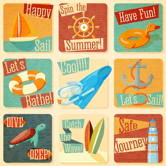 Set of retro stylized summer emblems with typographic elements