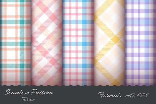 레트로 타탄 원활한 패턴 손 그리기 설정