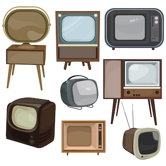 Set of retro tvs. collection of cartoon old tvs. vector illustration of television.