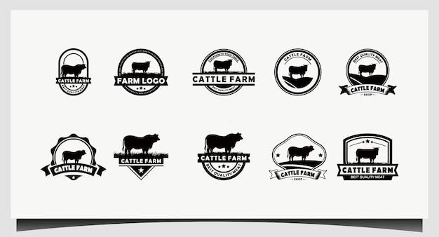레트로 빈티지 소 / 앵거스 / 쇠고기 엠블럼 라벨 로고 디자인 벡터 설정