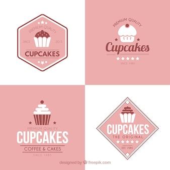 Set of retro vintage cup cakes labels