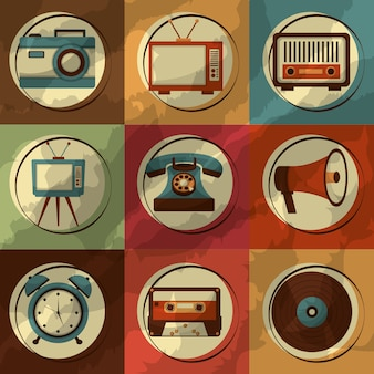 Set of retro vintage devices classic design