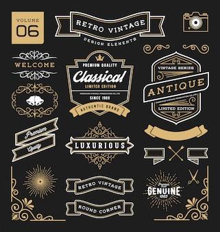 Set of retro vintage elements