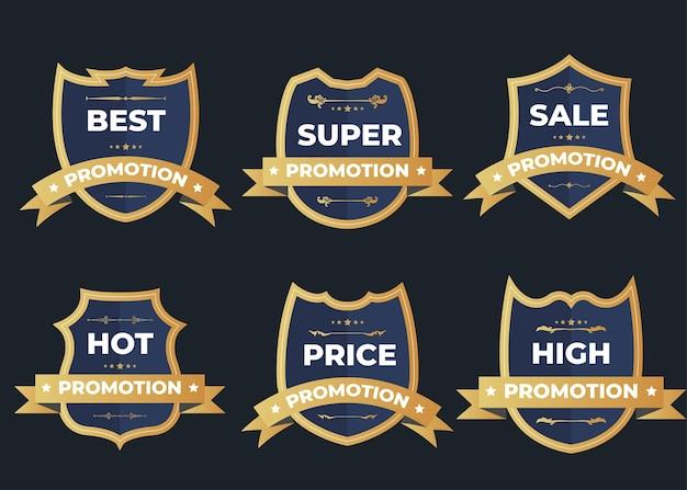 Set di badge logo vendita vintage retrò su un buio