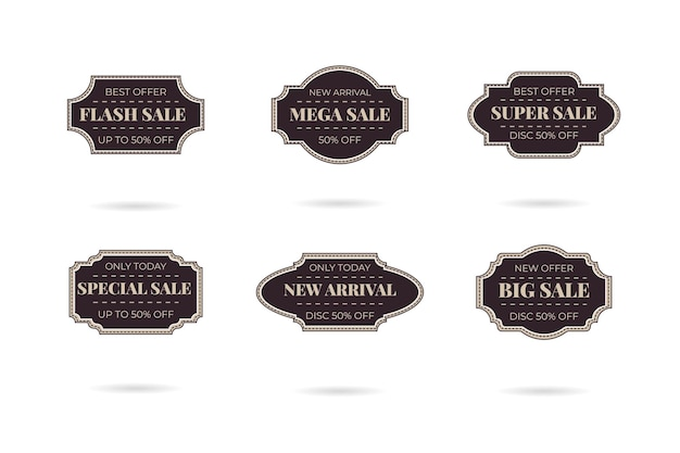 Set di badge logo vendita vintage retrò