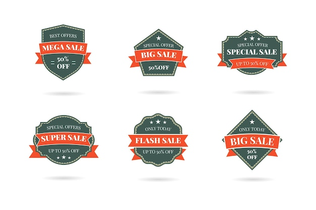 Set of retro vintage sale logo badges