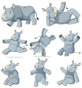 Set of rhinoceros cartoon character