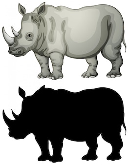 Set of rhinoceros character