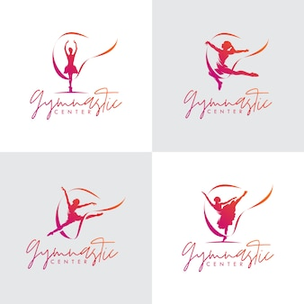 Set of rhythmic gymnastics with ribbon logo design