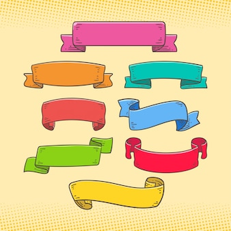 Set of ribbon banner doodle colorful style