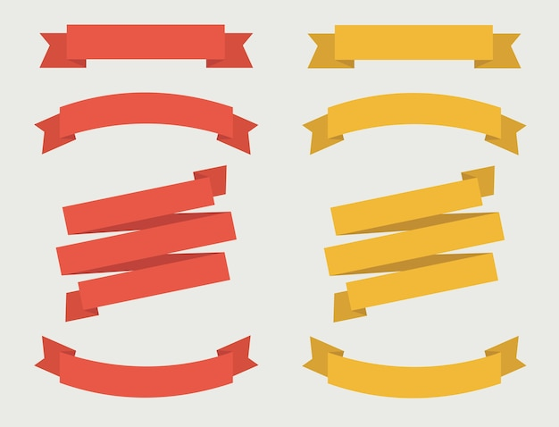 Set of ribbon banner in red and golden color. Premium Vector
