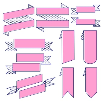 Set of ribbon banner vectors