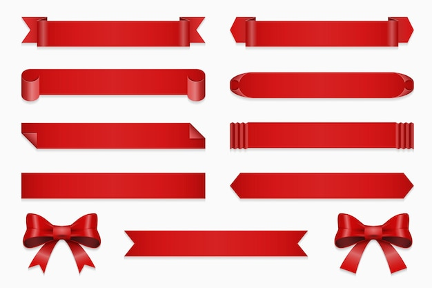 Set of ribbons for anniversary. banner and bow, straight red tape isolated on white background illustration