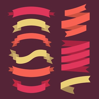 Set of ribbons in flat style.