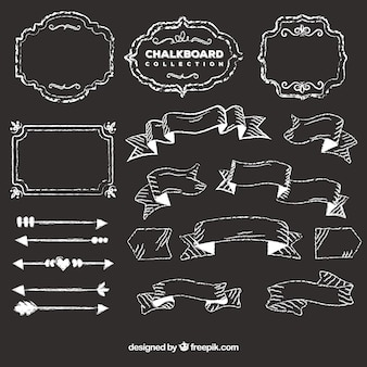 Set of ribbons, frames and arrows in blackboard style