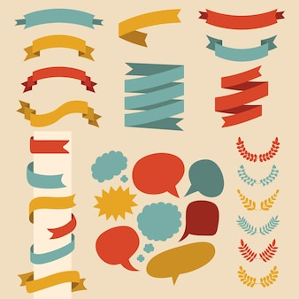 Set of ribbons, laurels and speech bubbles in flat style.