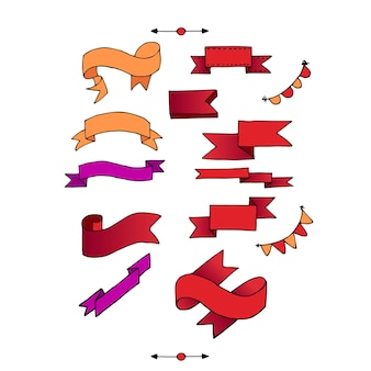 Set of ribbons. vector illustration of different colors.