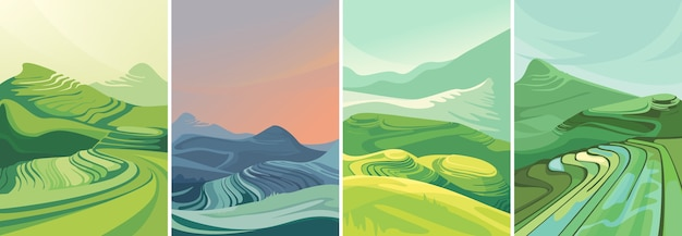 Set of rice terraces in vertical orientation