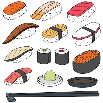 Set of rice with raw fish (sushi)