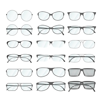 Set of rim glasses in different style on white