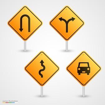 Set road sign art direction. vector illustration