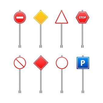 Set of road signs isolated on transparent  .   illustration.