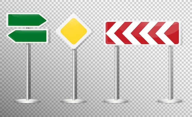 Set of road signs isolated on transparent . .