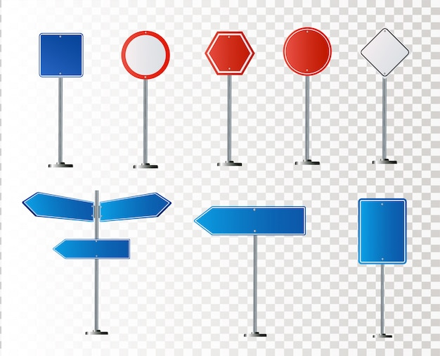 Set of road signs isolated on white background. illustration