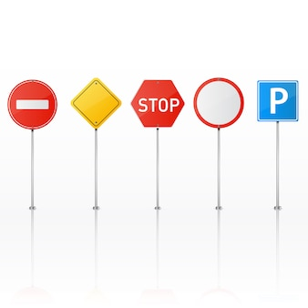 Set of road signs isolated..