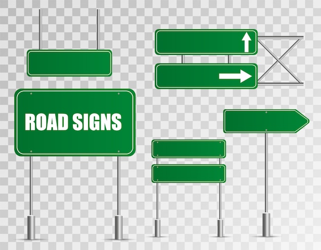 Set of road signs isolated