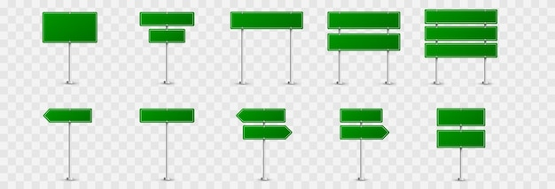 Set of road signs. road signs  . green flags  , road signs  , green signs.