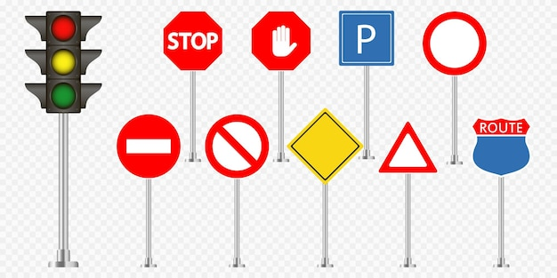 Set of road signs and traffic light on transparent background. vector illustration.