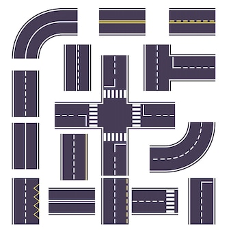 Set road with turns and overheads for the route.