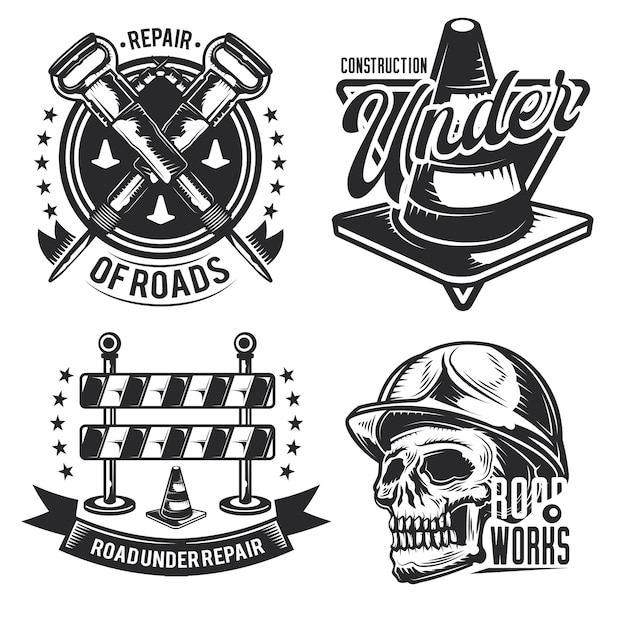 Set of road works emblems, labels, badges, logos. isolated on white