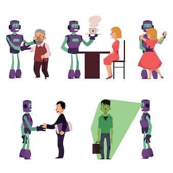 Set of robot assistants helping people characters
