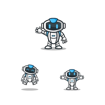 Set of robot character logo mascot template