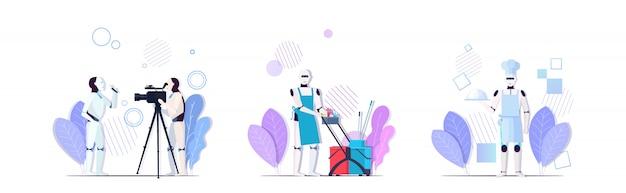 인공 지능 기술 개념 컬렉션 가로 전체 길이를 요리하는 로봇보고 라이브 뉴스 청소 서비스 설정