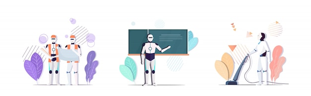 Set robot teacher architect cleaner characters